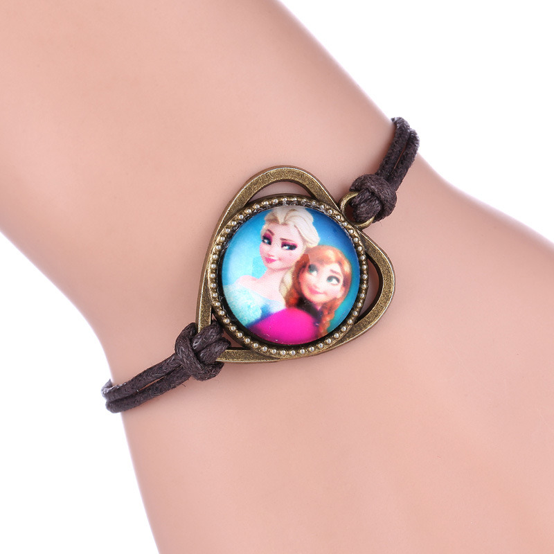 Imitation Kid′s Jewelry -Frozen Woven PU and Wax Bracelet Anna/Elsa Logo