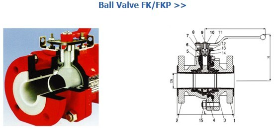 PFA/FEP Lined Ball Valve (ANSI flange 150lb, 300lb)