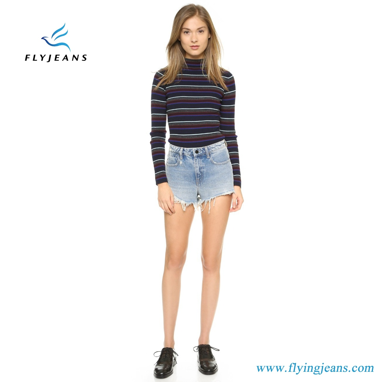 Hot Sale Fashion Blue Skinny Frayed Distressed Mini Pants Ladies/Women Denim Shorts by Jeans Manufacturer (Shorts E. P. 222)