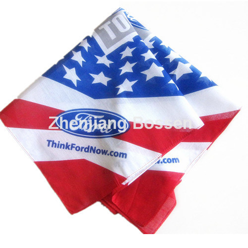 OEM Produce Customized Design Logo Printed Promotional Cotton Head Wrap Scarf