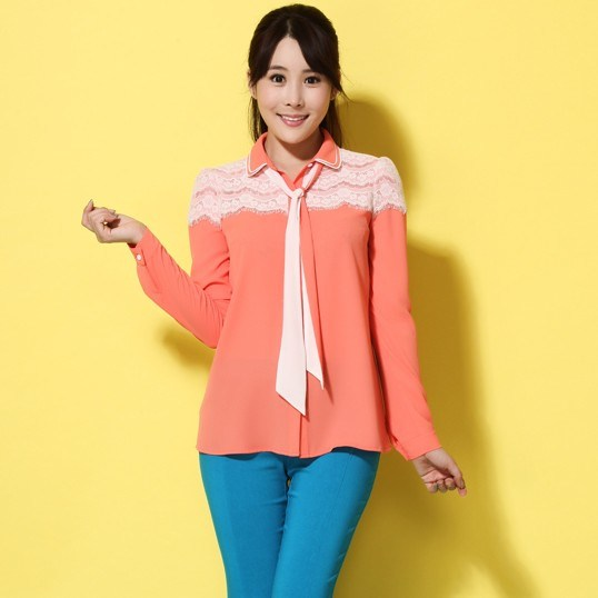 detalles de producto blusa chiffon camisa de las mujeres con el cordon