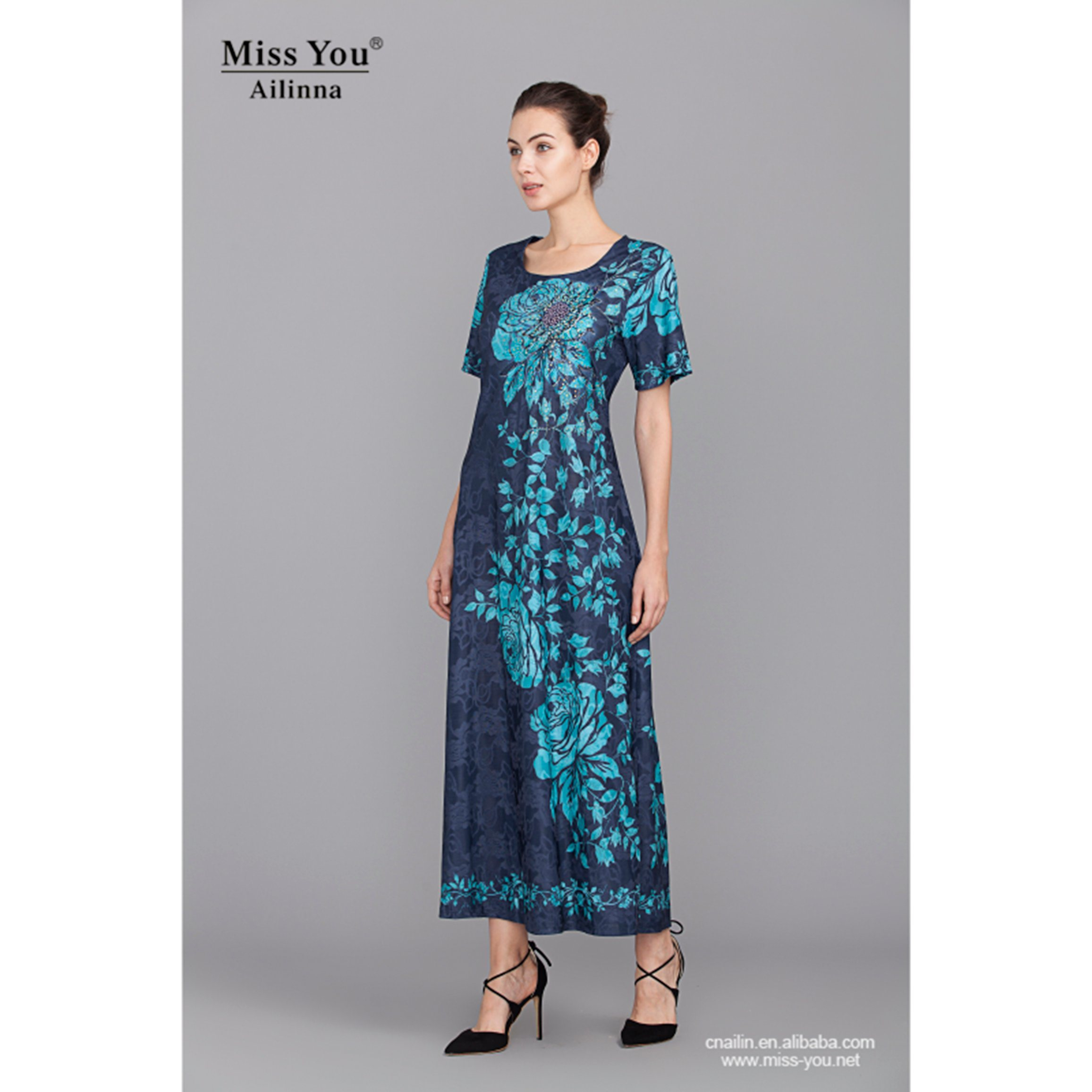 Miss You Ailinna 304707 Low Price Jacquard Cotton Dress Distributor Long Beaded Floral Dress