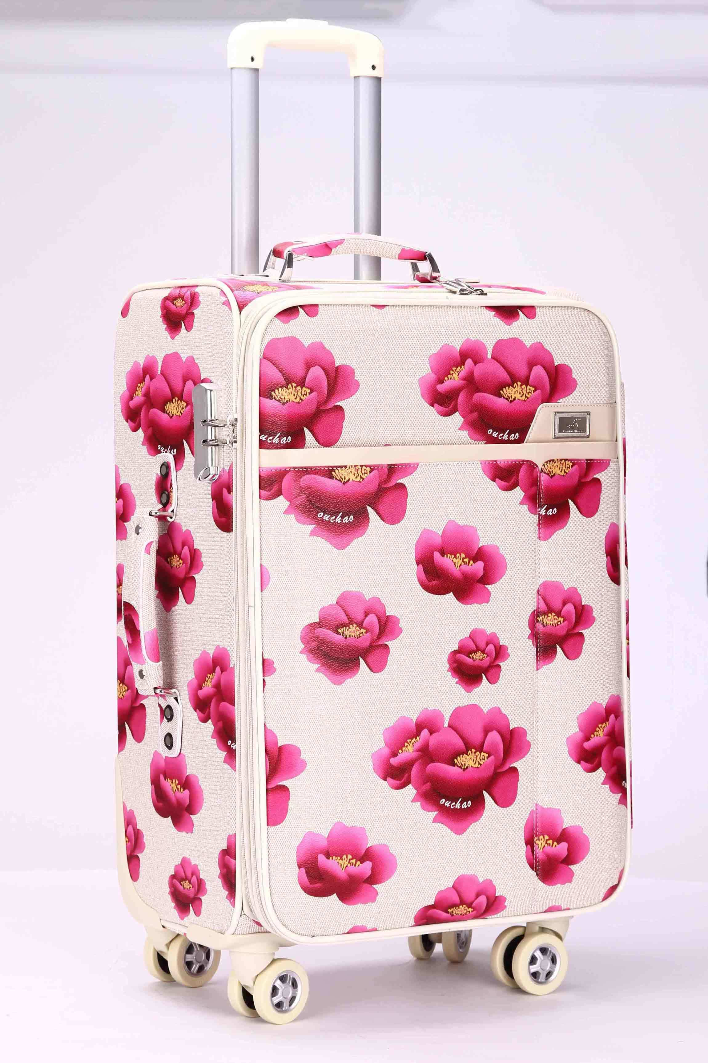 China Pink Big Flower Four Wheel Trolley Luggage Lady Travel ...