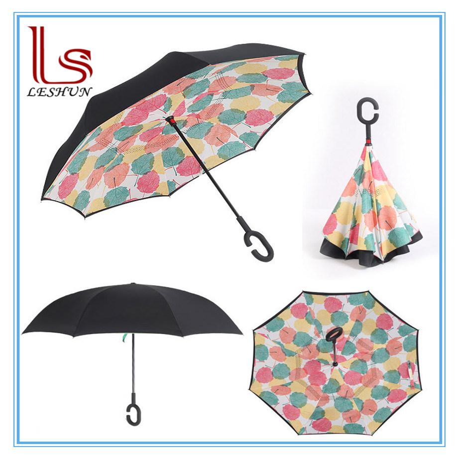 C Shape Handle Double-Layer Reverse Folding Sun Umbrella