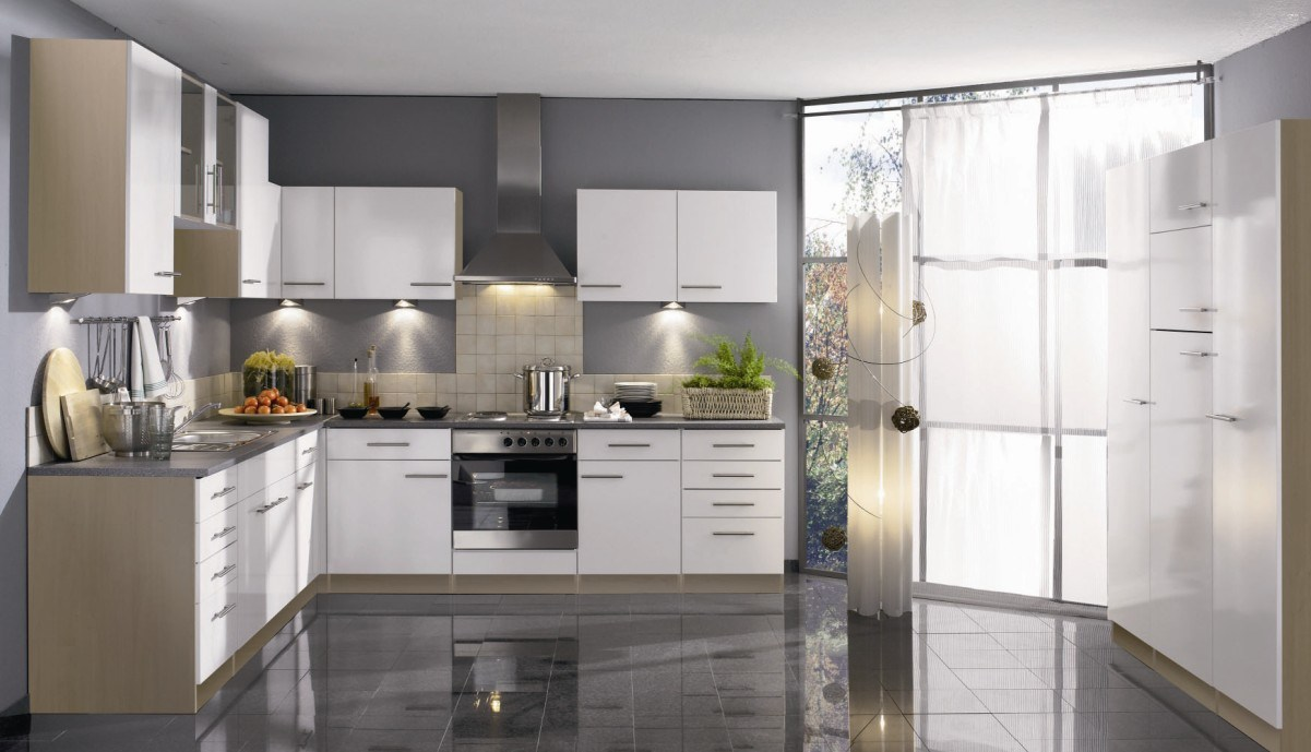 Glossy White Kitchen Cabinets For Elegant Kitchen Extraordinary