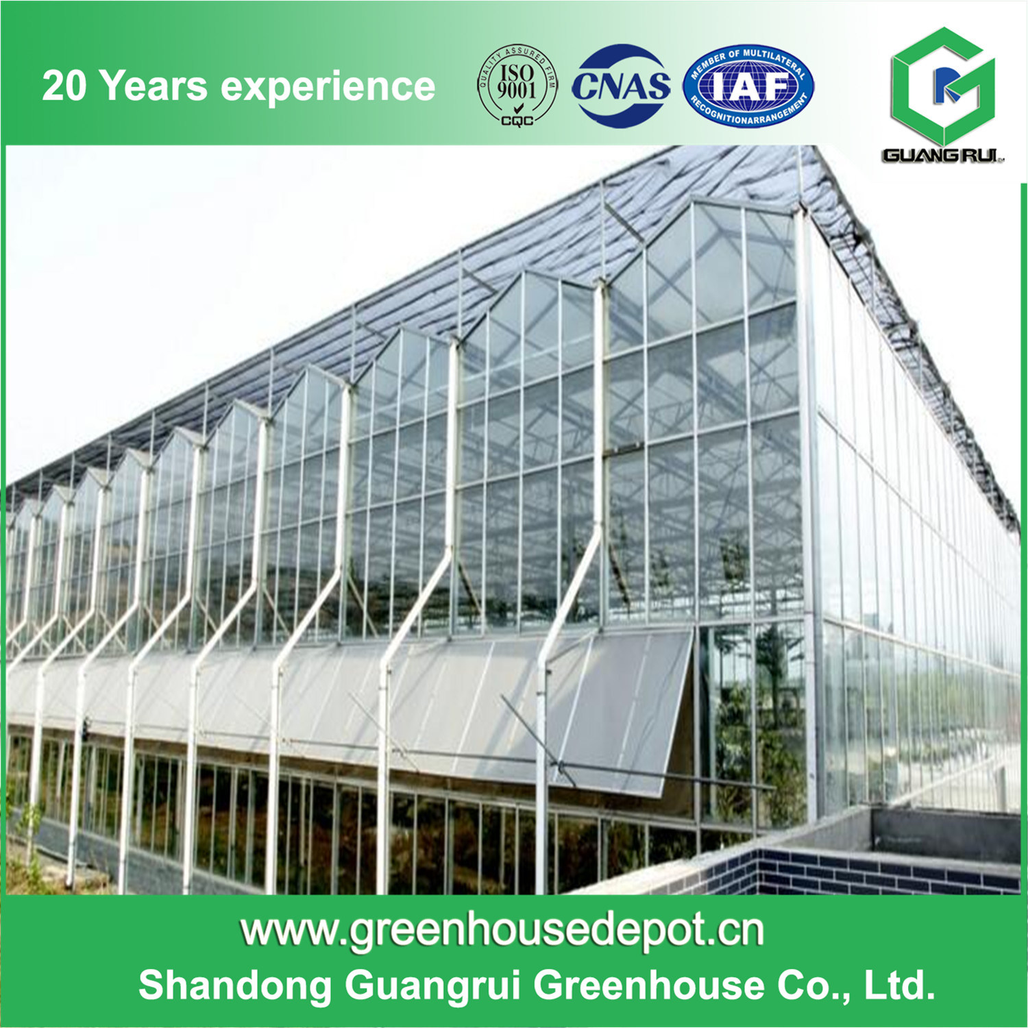 Best Sale Greenhouse Plastic with Fan Glass Green House