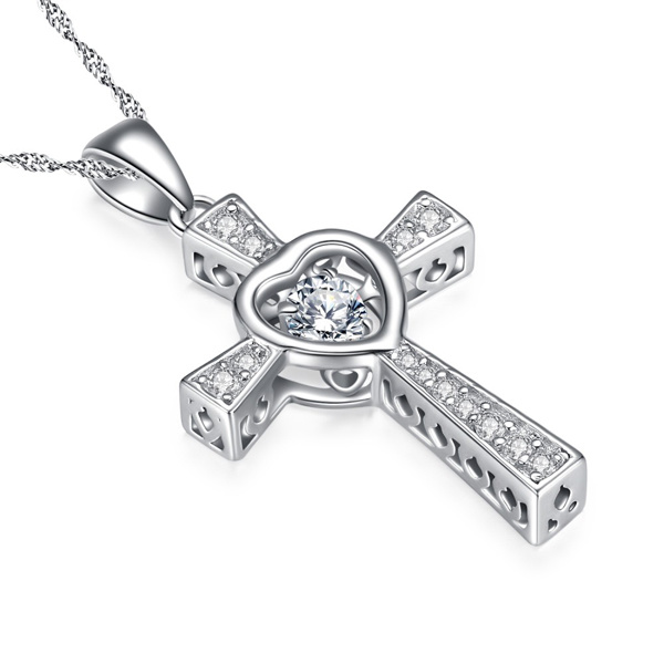 925 Silver Cross Pendants Necklace with Dancing Diamond Jewelry