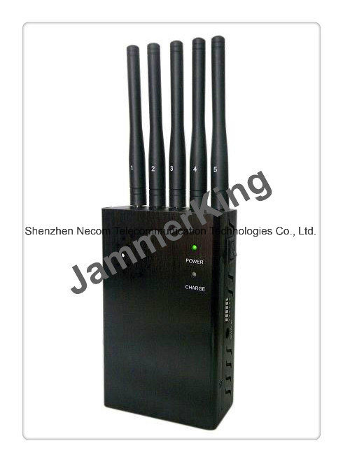 China 5 Antenna Cell Phone Lojack RF Jammer, 5 Bands Handheld Mobile Signal Jammer with Car Charger - China 5 Band Signal Blockers, Five Antennas Jammers