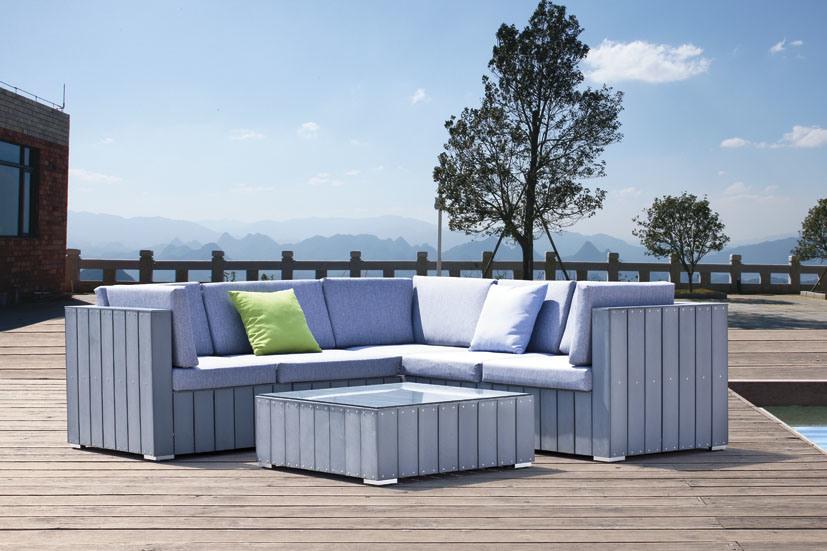 Plastic Imitation Wood Outdoor Furniture Wood Sofa