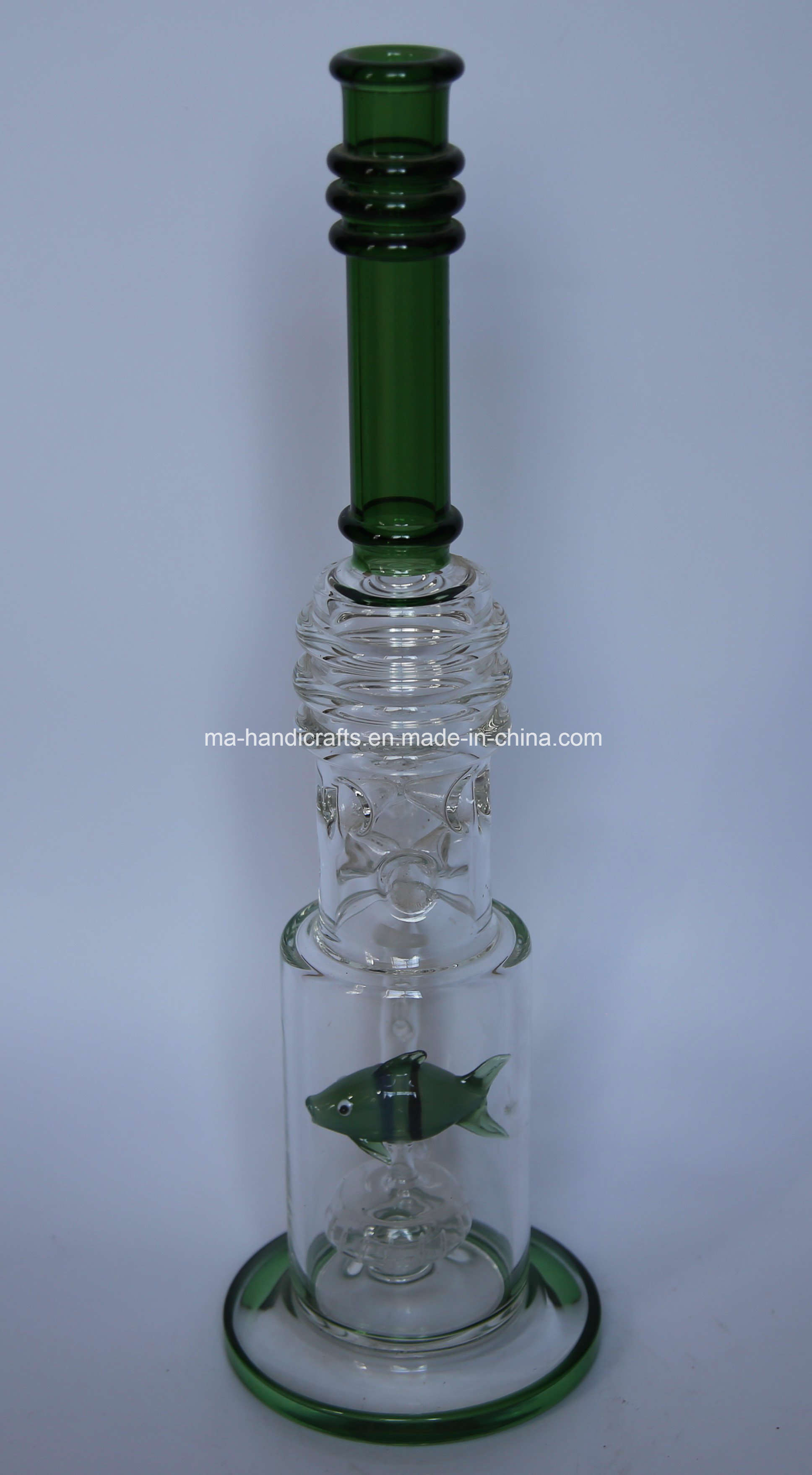 """17"""" Green Glass Smoking Water Pipes with Fish Perc"""