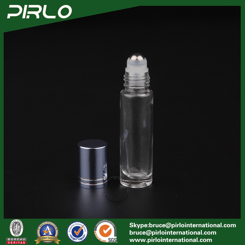 10ml Clear Glass Roll on Bottle with Metal Roller and Blue Cap