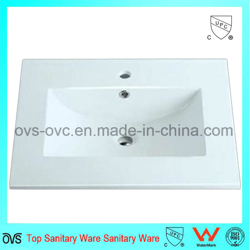 Sanitary Ware One Piece Thin Edge Ceramic Wash Basin Sink with Cupc