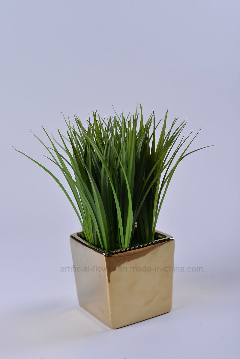 Artificial Vivid Water Plants with Plating Ceramic Potted for Home/Office Decoration