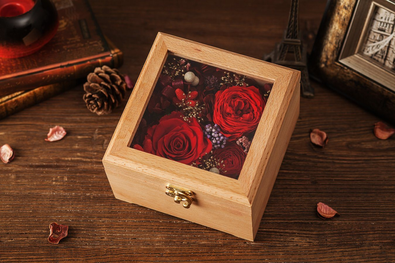 Ivenran Wooden Gift Box Preserved Fresh Flower for Creative Gift