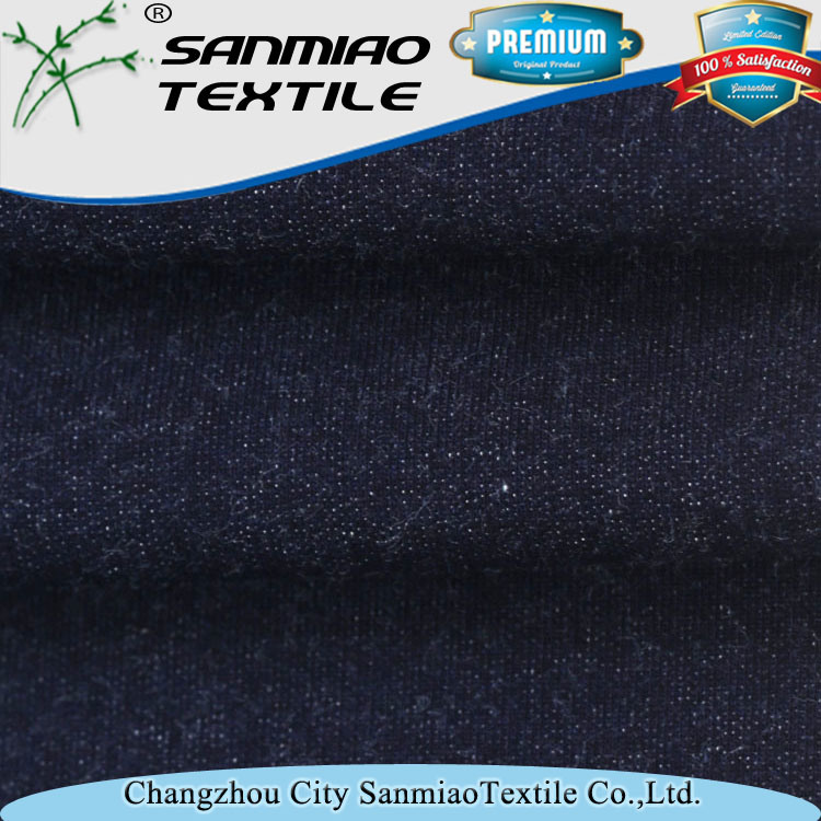 Indigo Blue Cotton 180cm Width French Terry Knitting Knitted Denim Fabric for Garments