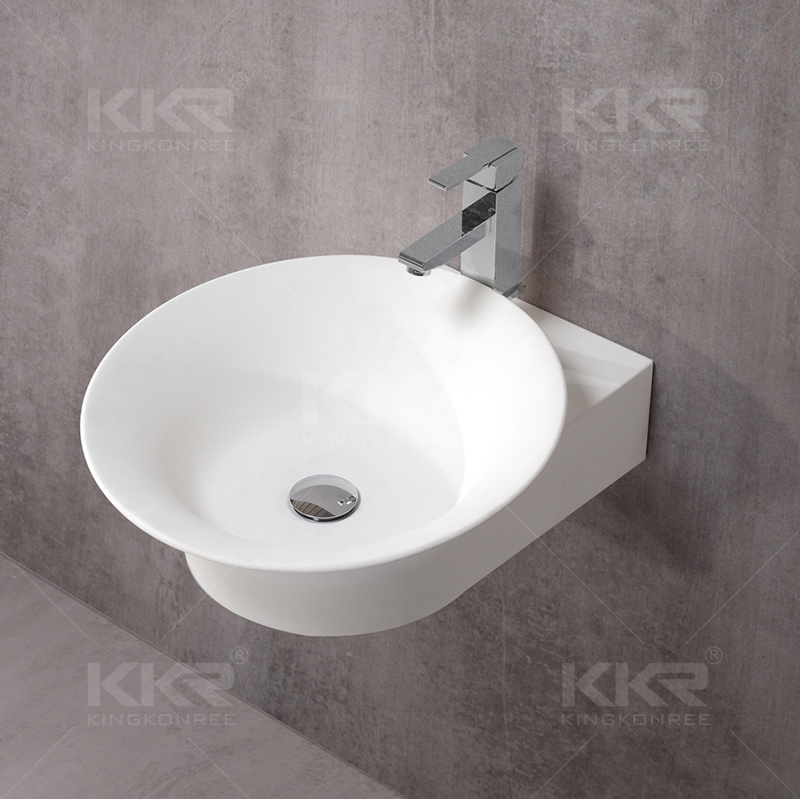 Wholesale Wall Hung Solid Surface Bathroom Wash Basin (20170603)