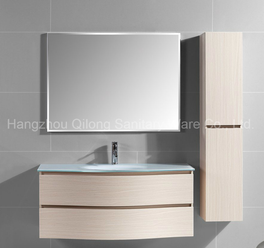 Melamine Bathroom Cabinet with Glass Sink Vanity