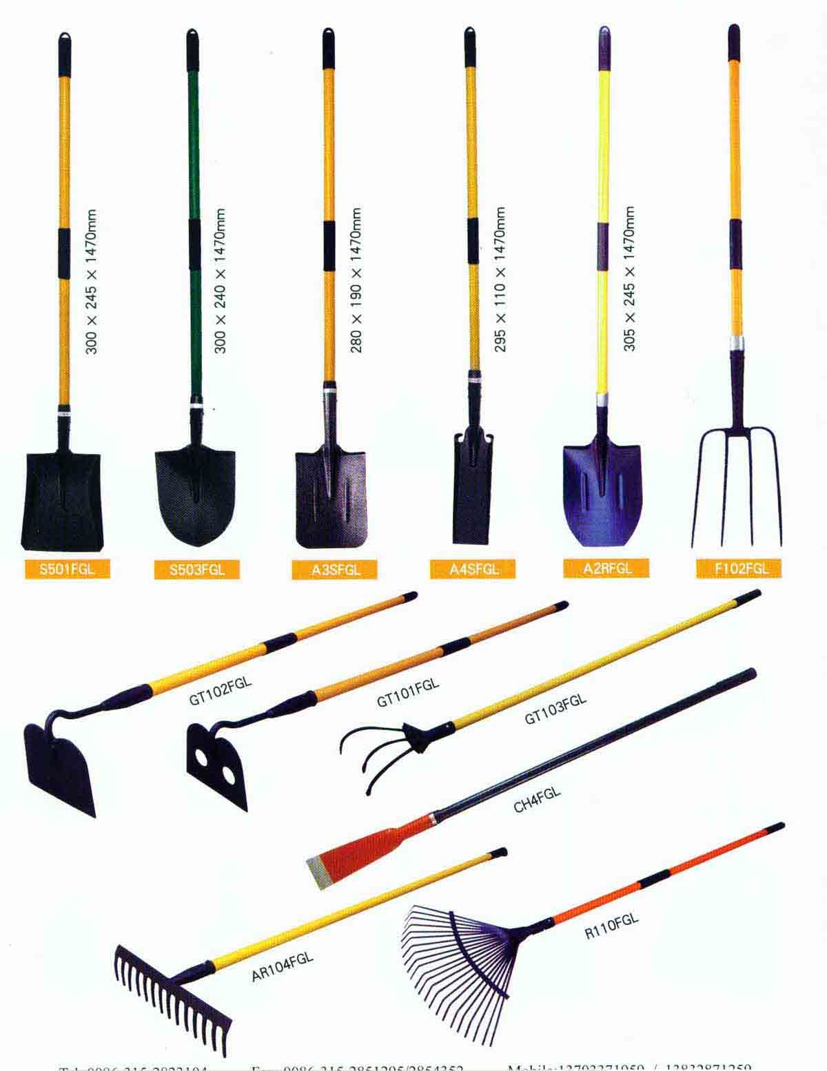 China shovel with fiberglass handle s501fgl s503fgl for Gardening tools list and their uses