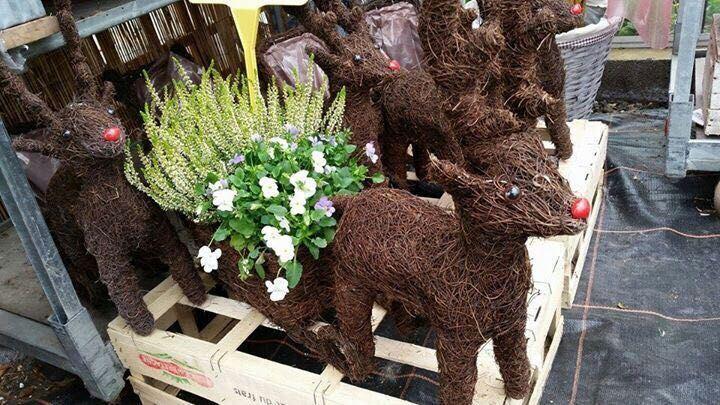 Christmas Reindeer Coconut Fiber Flower Garden Planter