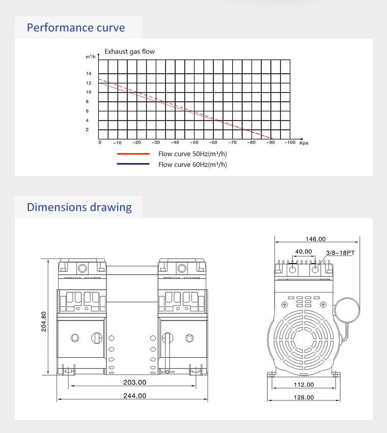 Hokaido Mini Oil Free Air Compressor Vacuum Pump (HP-2000V)