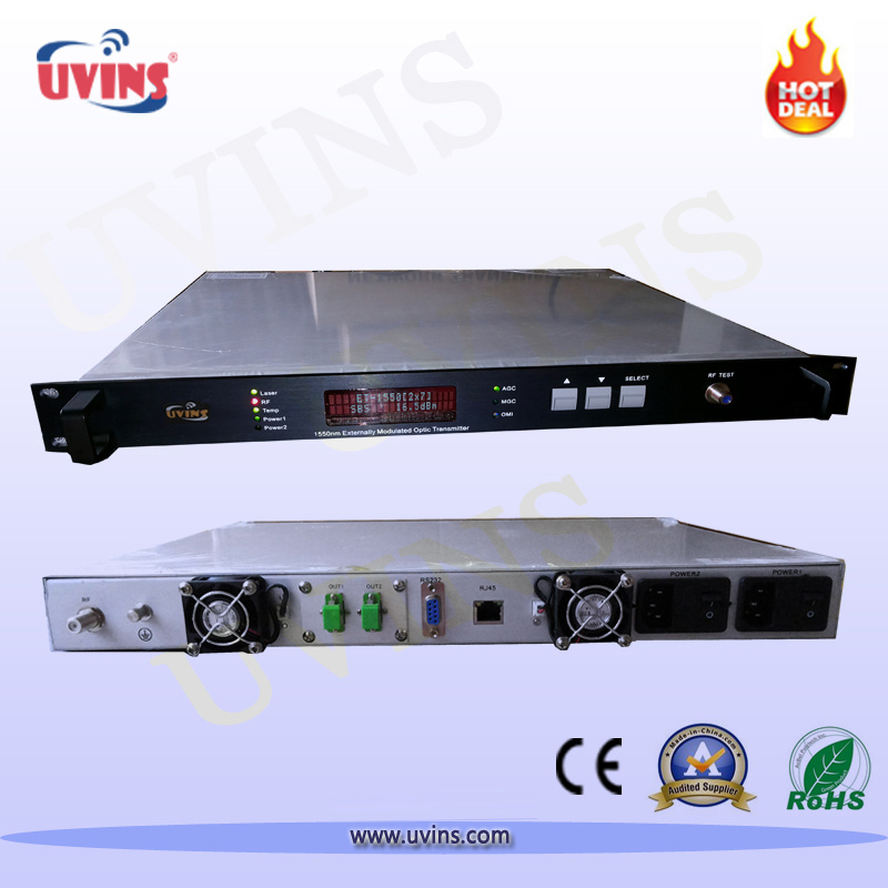 1550nm Optical Fiber Transmitter CATV External-Modulation 2 Output