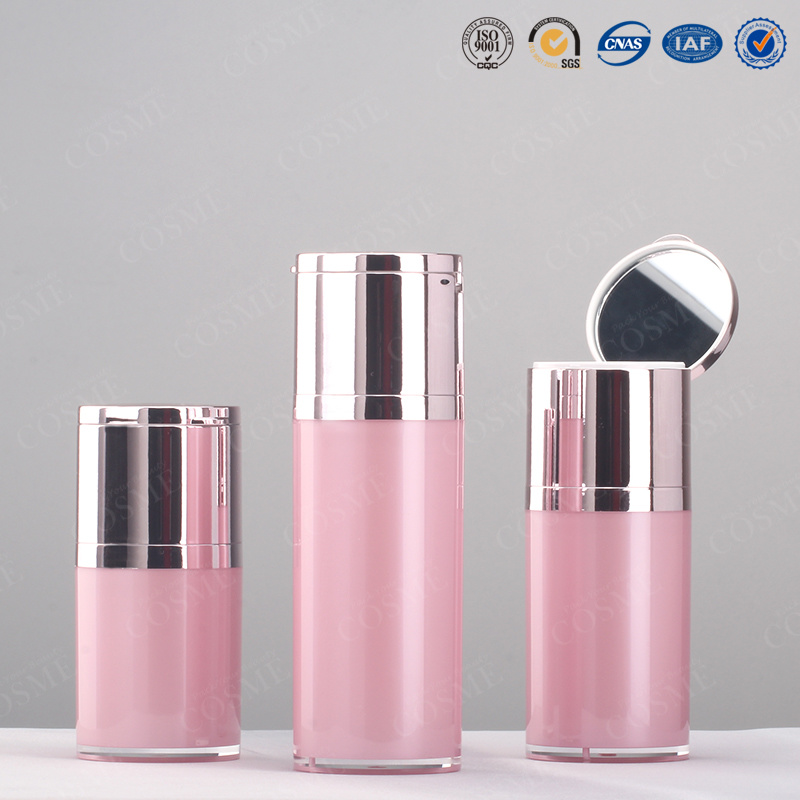 15g 30g 50g Push Button High Quality Plastic Acrylic Cosmetic Airless Pump Bottle and Jar