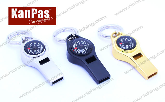 Metal Whistle Compass Keyholder, Innovative Design #K-Z-3