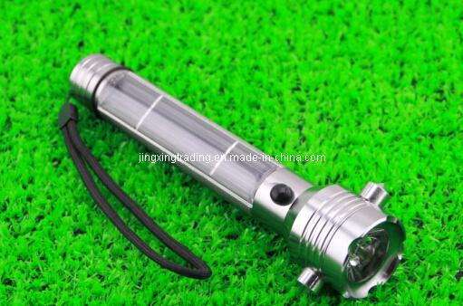High-Quality Aviation Aluminum-Alloy Solar Flashlight with Emergency Hammers (JX-SF006)