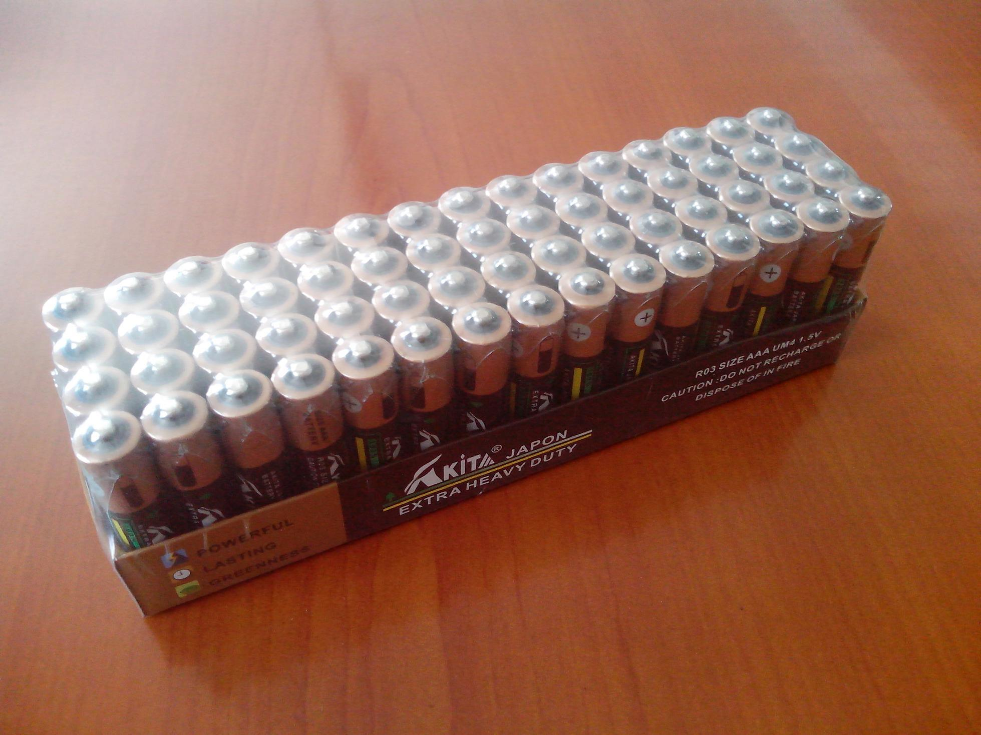AAA R03 Um4 1.5V Dry Cell Battery in Paper Tray Packing (AAA R03)