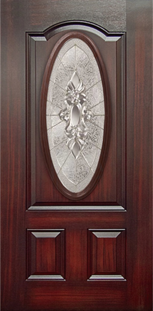 Mahogany 3 Panel Fiberglass Door