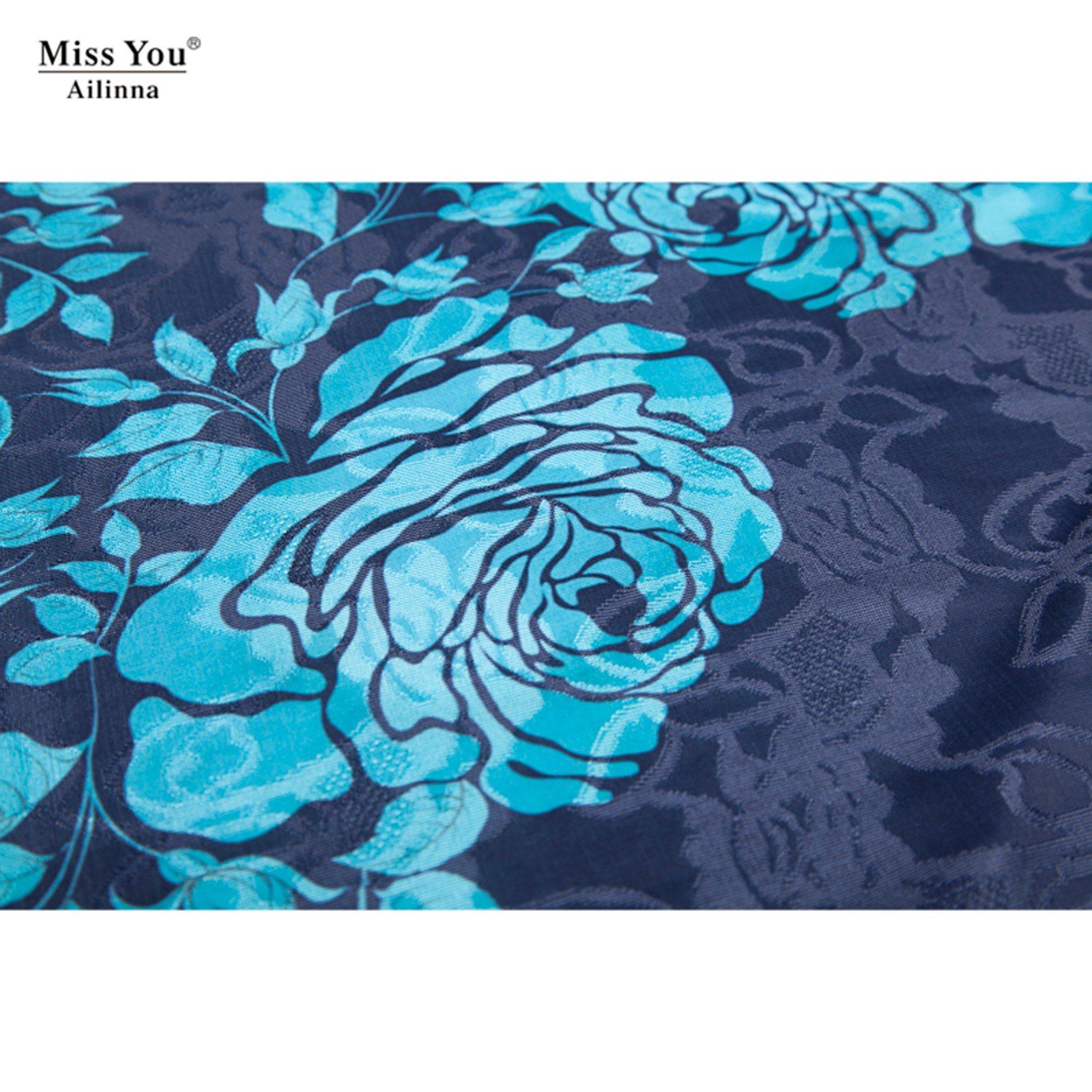 Miss You Ailinna 304707 Low Price Jacquard Cotton Dress Distributor Long Beaded Floral Dress