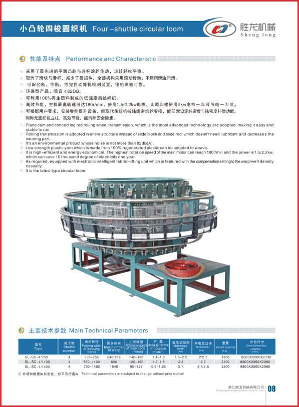 Four-Shuttle Plastic Circular Loom (SL-SC-4/750)