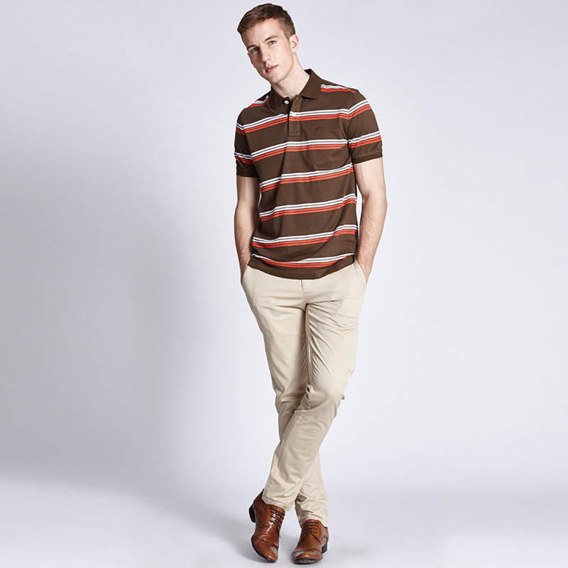 China Factory Cheap Custom Mens Polo Collar Striped T Shirt