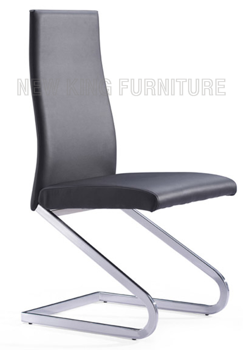 European Style Z Shaped Genuine Black Leather Dining Chair (NK-DC003)