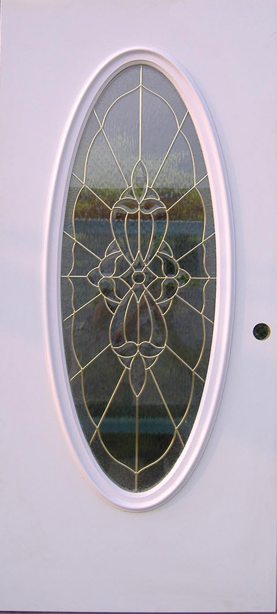 Steel Door with Big Oval Decorative Glass