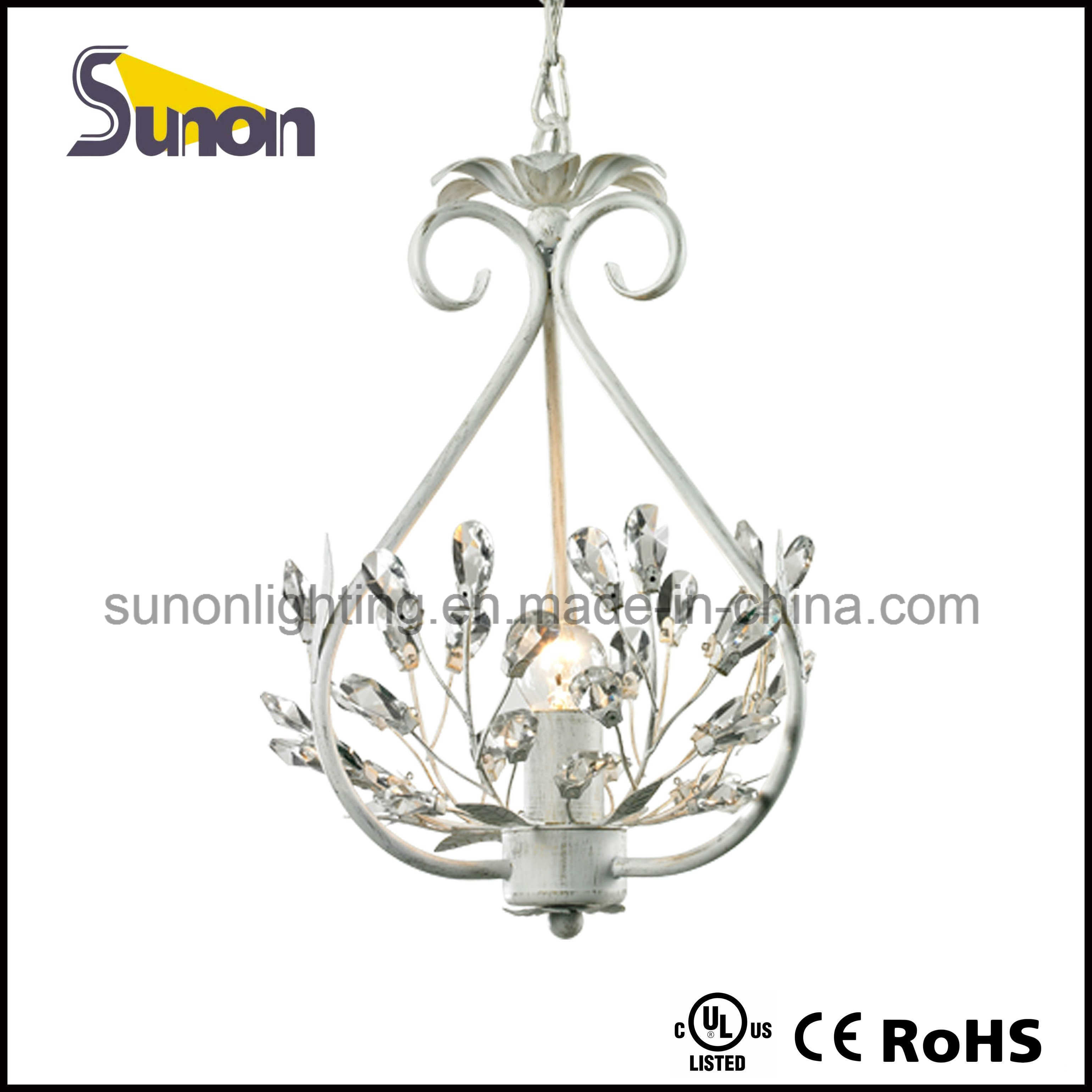 Wrought Iron and Crystal Light Chandelier Pendant White Fixture Lighting Pendant Lamp