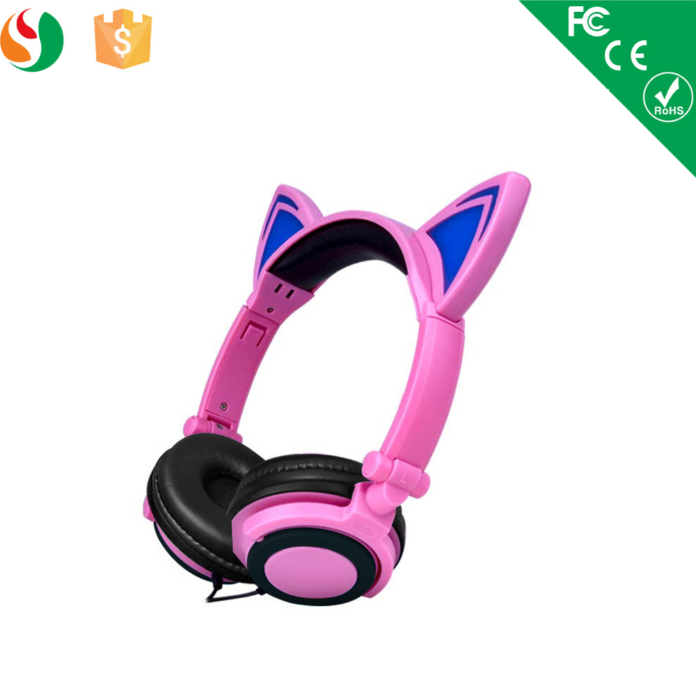 Stylish Cat Ear LED Light Stereo Wired Headset