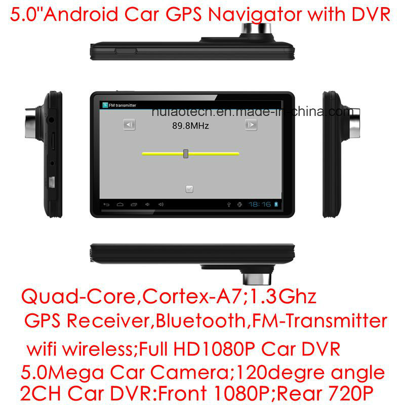 5.0inch Capacitive Multi-Touch Android Car GPS Navigation Tablet PC with 2CH Car DVR, 5.0mega Car camera, WiFi; Bluetooth; FM-Transmitter; GPS Navigator