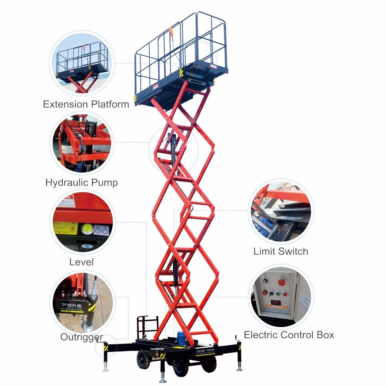 11m Manganese Steel Mobile Scissor Lift for Installlation & Maintenance