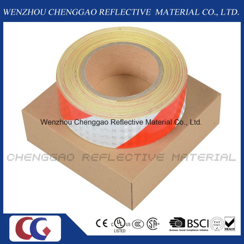 Red and White PVC Stripe Caution Reflective Adhesive Tape (C3500-S)