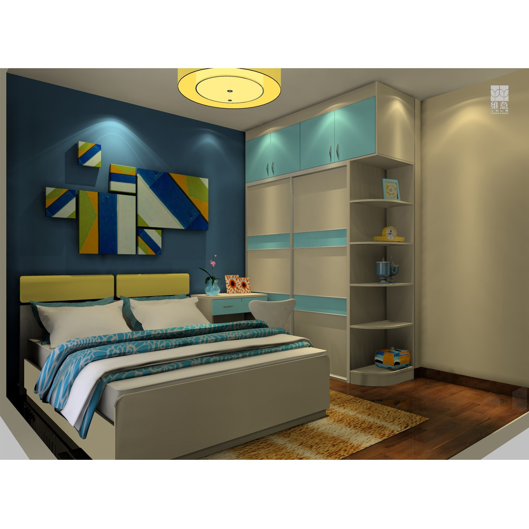 Home Design White and Blue Lacquer Color Contrast Sliding Wardrobe