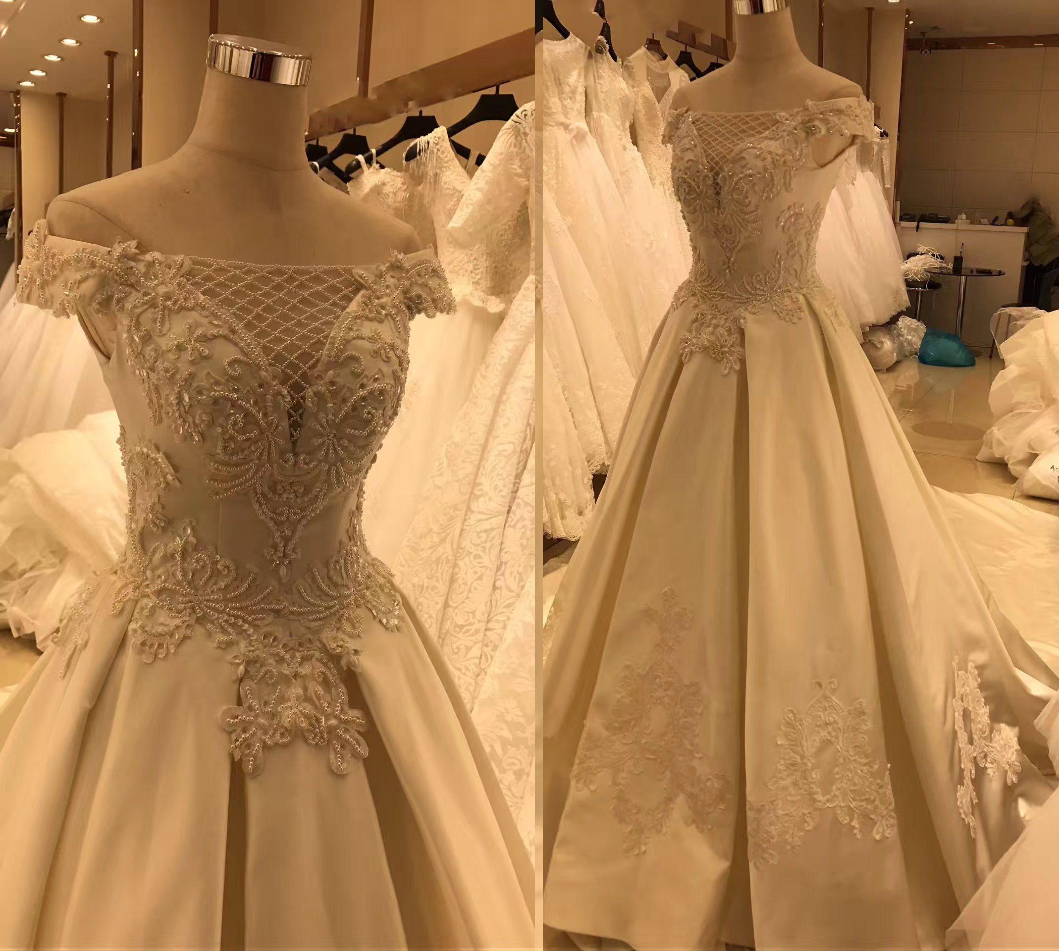 Satin Real Sample Wedding Dress Gown