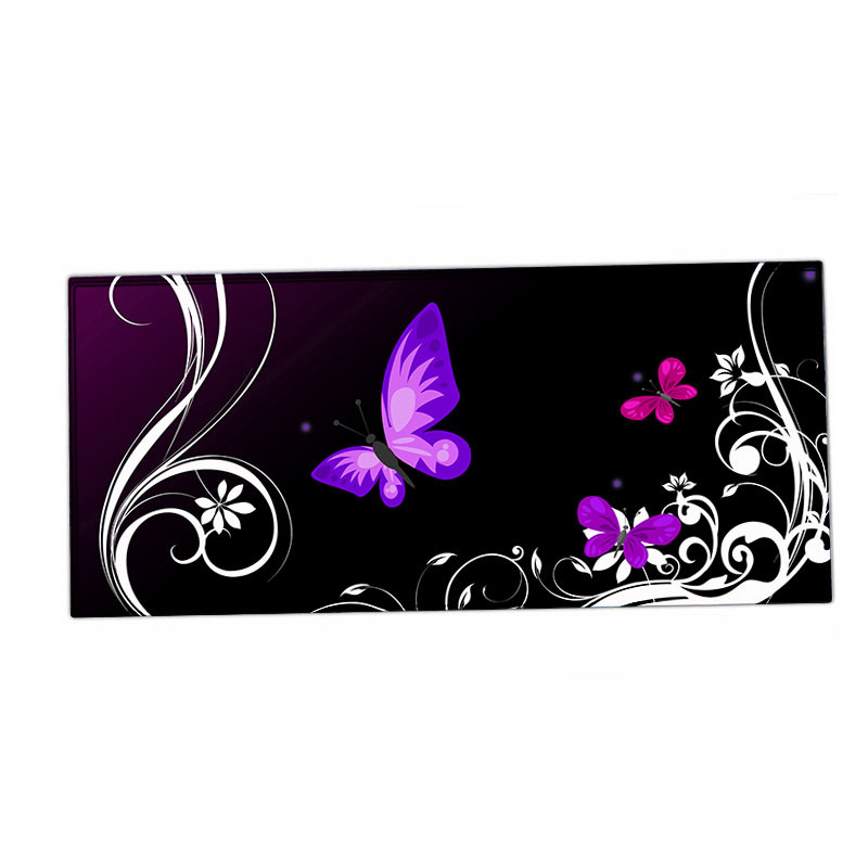 Butter Fly Purple Gaming Anti-Fray Cloth Gaming Mouse Pad, Extended