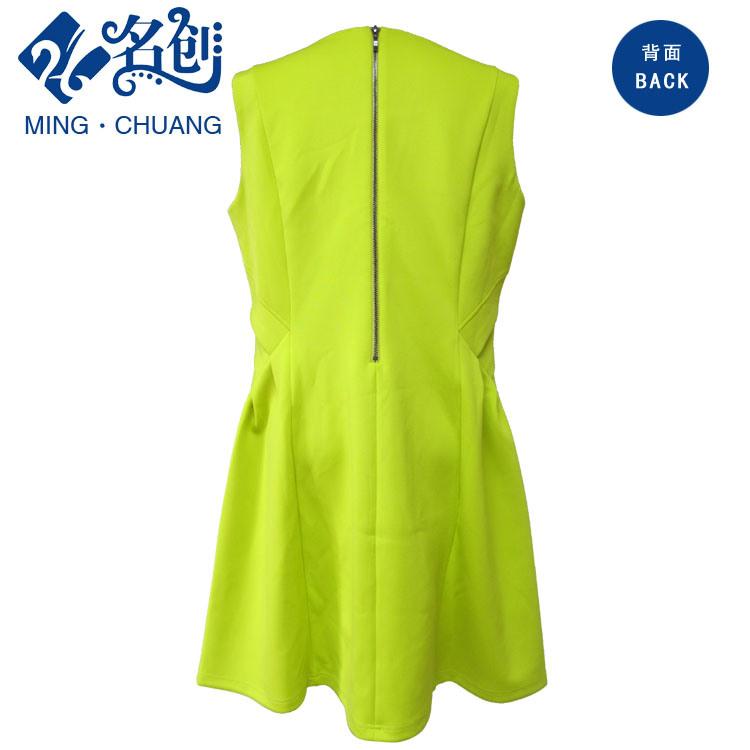 Green V-Neck Slim Sexy Summer Rear-Zipper Ladies Fashion A-Line Dress