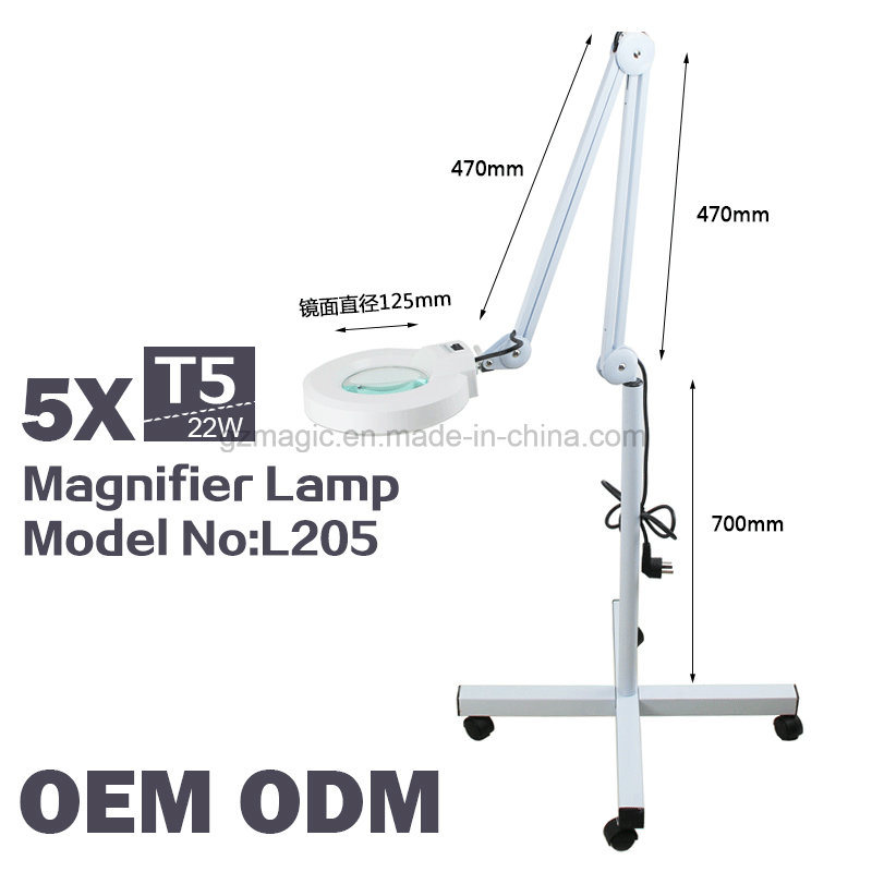 L205 Vertical 5X Magnifying Lamp for Salon Use with Wheels