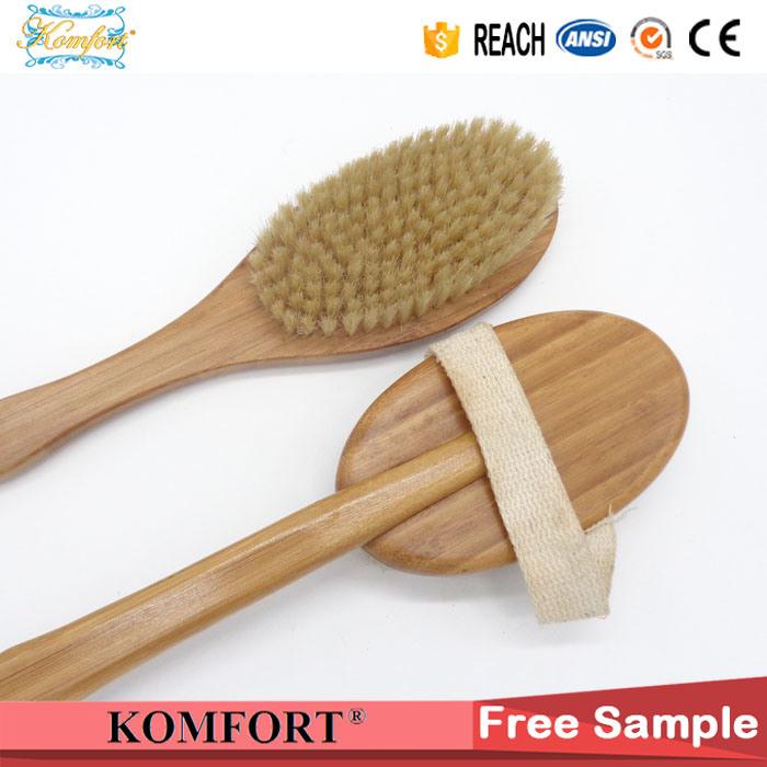 Natural Boar Bristles Dry Body Bamboo Back Scrubber SPA Brush for Skin