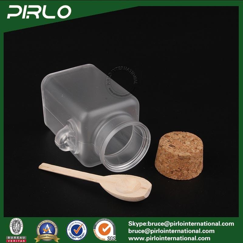 100ml 3.3oz Square Shape Plastic Cork Bottle with Wooden Spoon Matte Surface Plastic Bath Salt Bottle with Cork