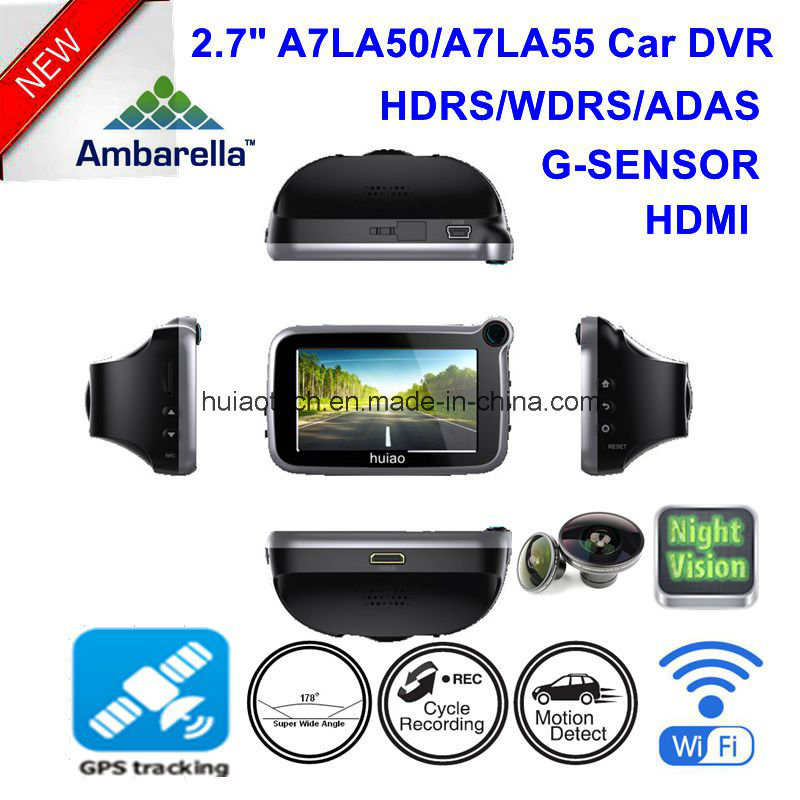 "New 2.7"" Ambarella A7la50 4.0mega Hdr/WDR 1296p WiFi Car Black Box Digital Video Recorder DVR with GPS Tracking Route, Google Map Playback GPS Log DVR-2718"