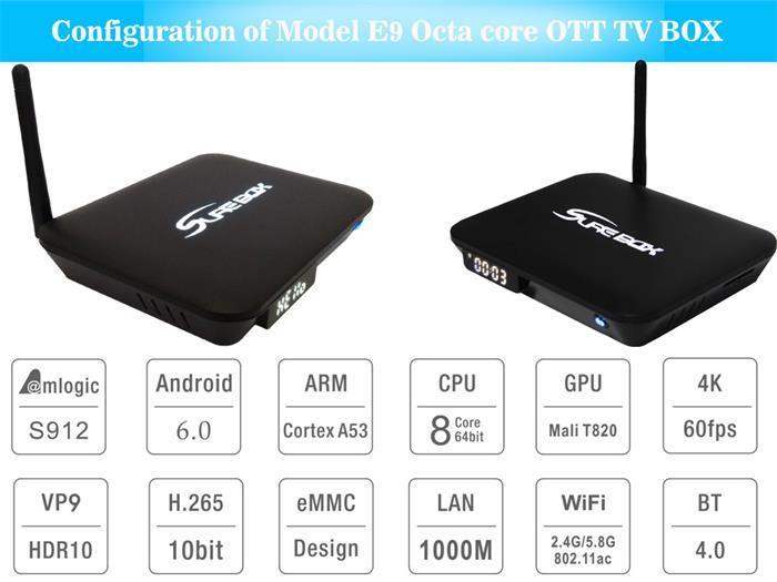 E9 Android TV Box 2+16GB Amlogic S912 Octa Core Set Top Box Dual Band WiFi HD 4k Player Kodi17.1 Android 6 OS