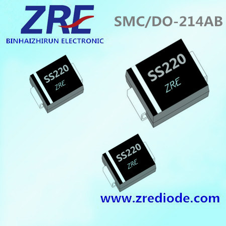 2A Schottky Barrier Rectifier Diode Ss22 Thru Ss220 SMC-Do/214ab Package